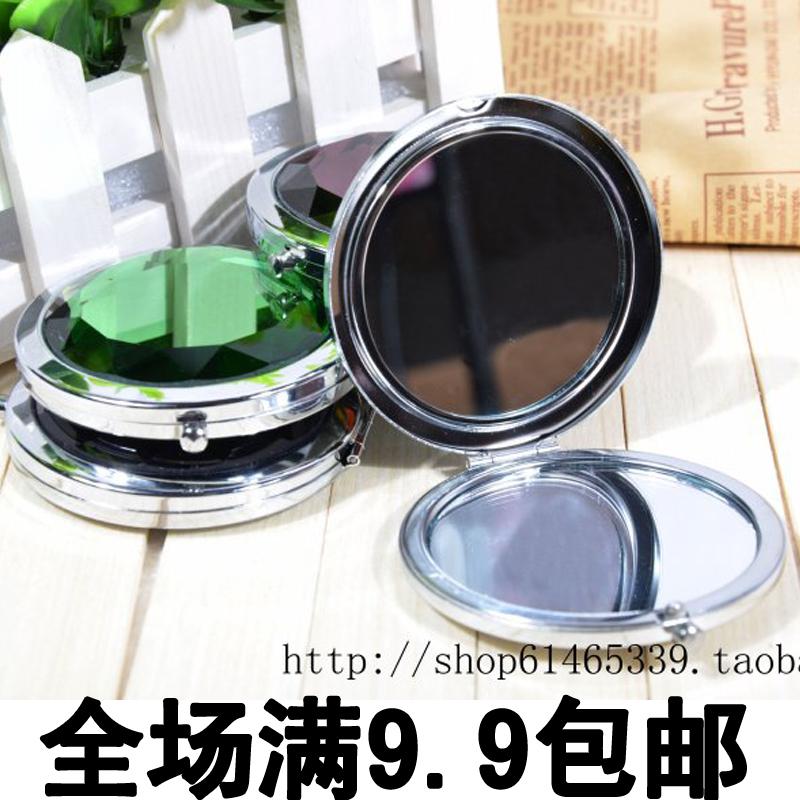 韩版 化妆镜 小镜子双面折叠 随身便携 补妆镜 美容宝石水晶 包邮