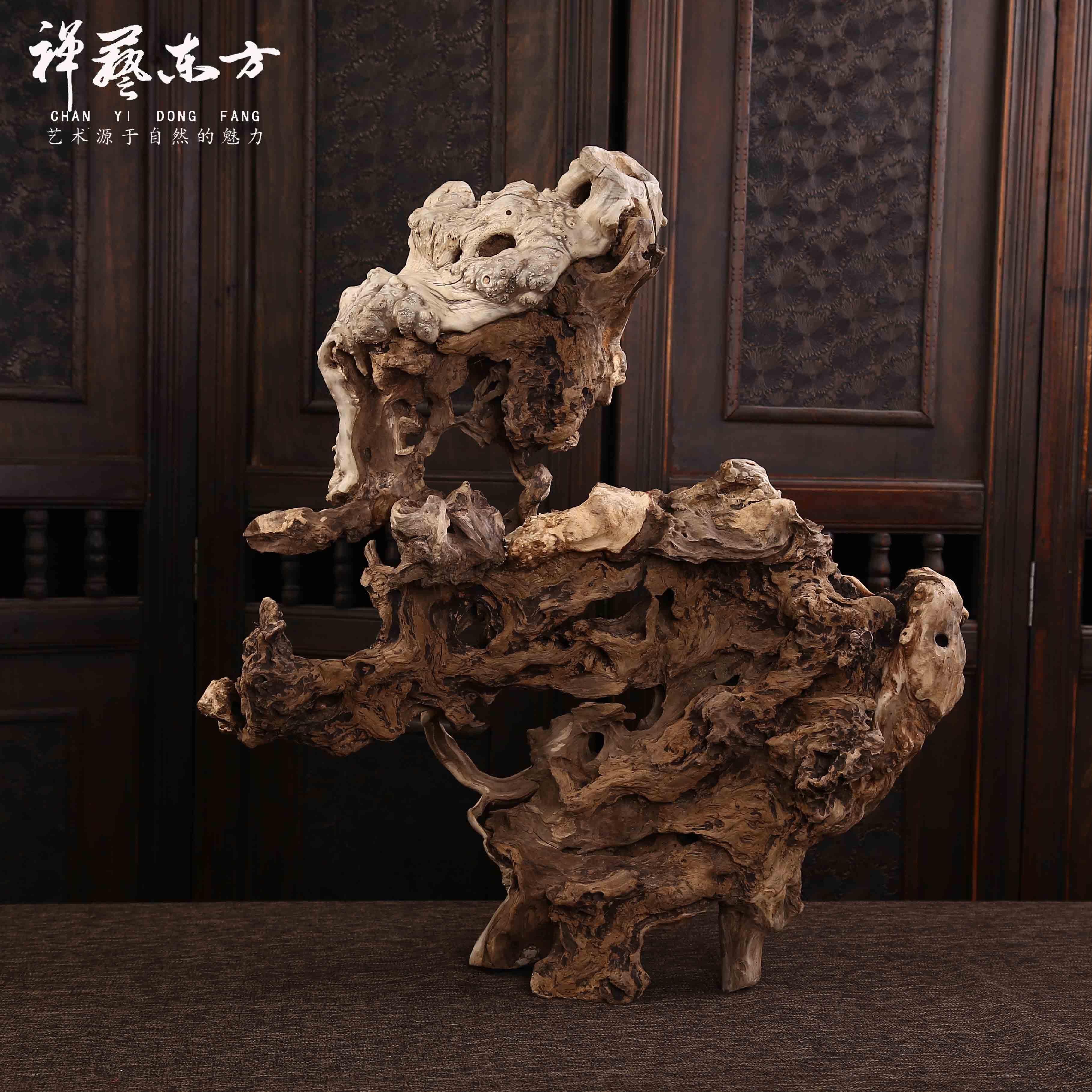 禅意中式玄关摆件风化枯木创意根雕艺术客厅电视柜品