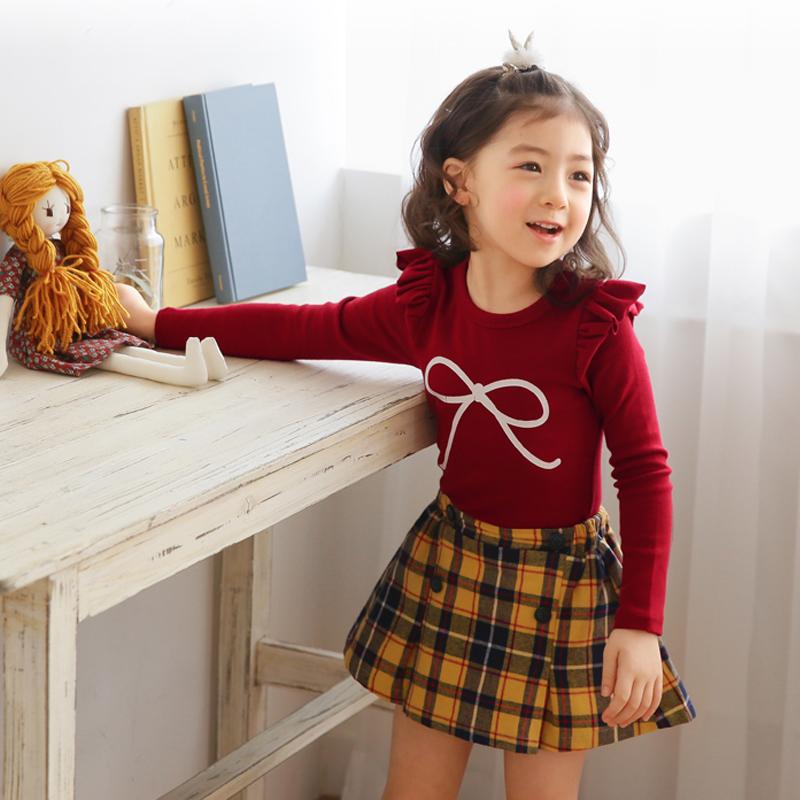 女童韩版时尚打底衫清新可爱圆领上衣