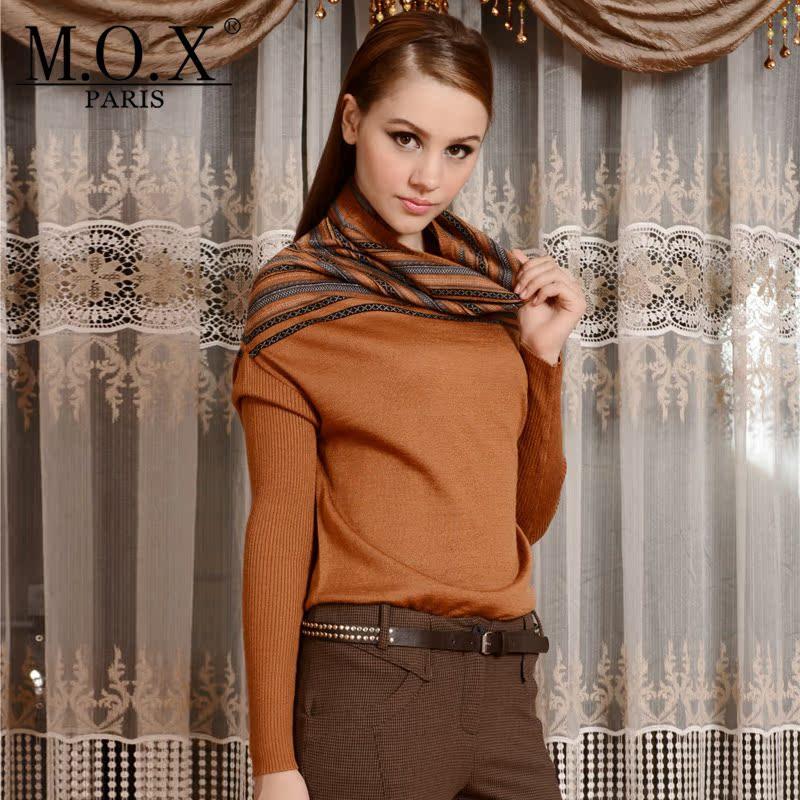 M.O.X欧美高端女装 秋冬气质修身款高领 堆堆领蝙蝠袖针织衫