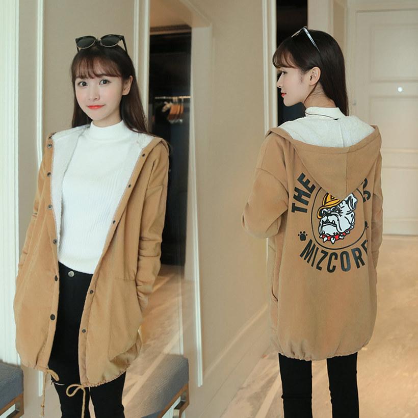 冬季韩版中长款宽松加厚长袖女学院风连帽外套秋冬学生秋装风衣潮