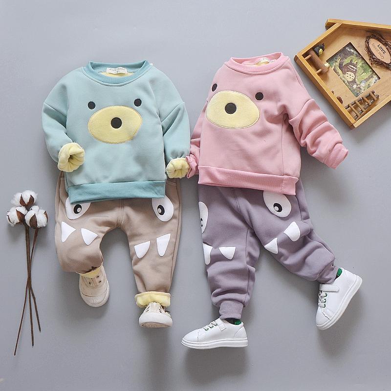 婴儿童装男童秋冬款加绒加厚套装冬季女宝宝两件套衣服1-2-3-4岁
