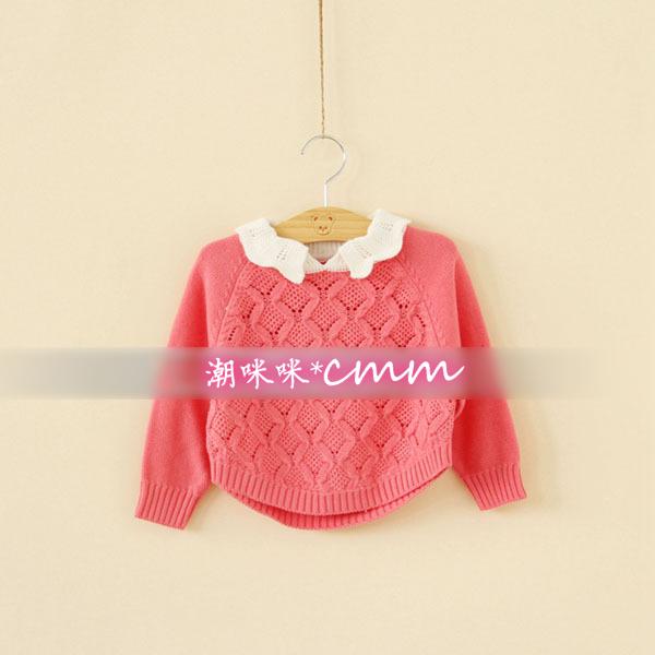 童装 儿童女童 小童中大童 手工勾花 蝙蝠袖镂空纯棉线针织衫