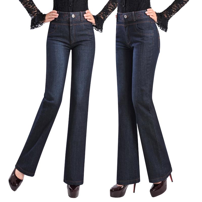 精美刺绣宽松直筒牛仔裤中年女裤高腰大码时尚牛仔裤