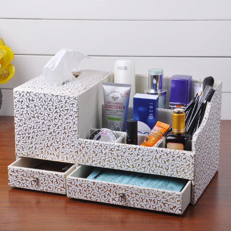 多功能纸巾盒 办公遥控器收纳盒餐巾抽纸盒欧式创意
