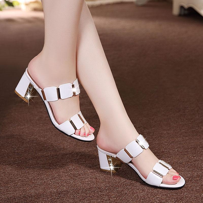 真皮拖鞋中跟韩版一字拖粗女士时尚凉鞋女鞋