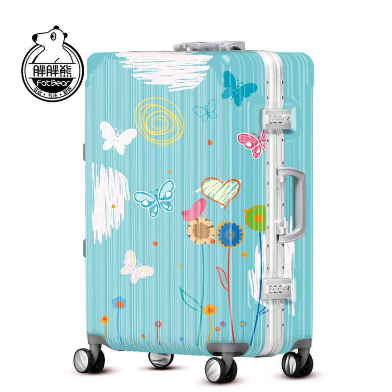 胖胖熊万向轮拉杆箱旅行箱女20寸登机箱卡通蝴蝶行李箱24寸YQY22