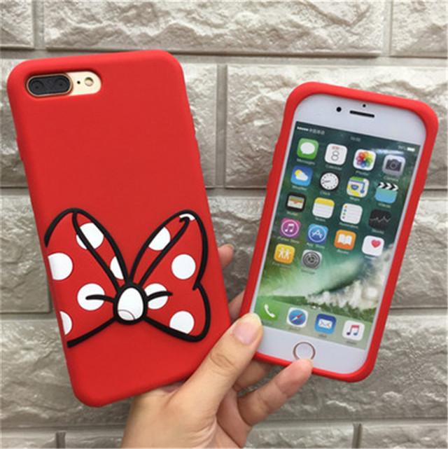 韩国可爱情侣米奇米妮 苹果6手机壳挂绳iphone6s/7plus硅胶防摔软