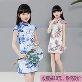女童旗袍2017新款夏季小孩演出服公主裙中国风童装儿童唐装连衣裙