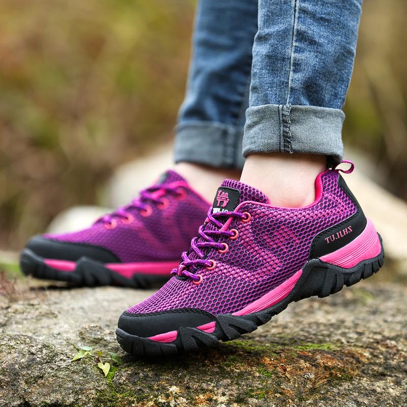 涉水登山鞋越野户外运动透气女鞋旅游鞋爬山防滑夏网面徒步