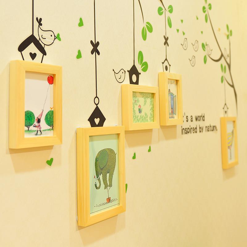主播背景设计布实木照片墙创意绿色小鸟墙贴+5框相框墙家居相片墙