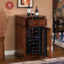 实木欧式冰箱葡萄酒红酒小冰吧酒柜冷藏雪茄柜家用电子恒温红酒柜
