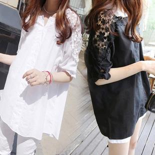 夏装新款韩版短袖衬衫200斤胖mm加肥加大码女装蕾丝T恤女大号上衣