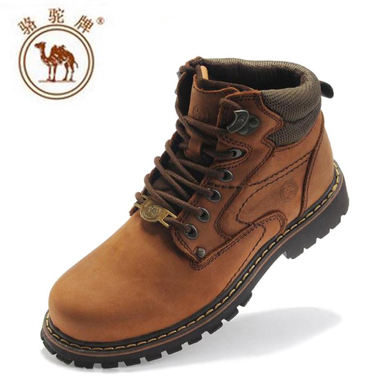骆驼男鞋高帮鞋羊皮毛一体雪地靴男式靴子真皮英伦复古马丁短筒靴