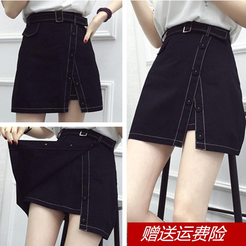 两件撞色装假开叉明线加大包臀裙 斤胖不规则短裙mm