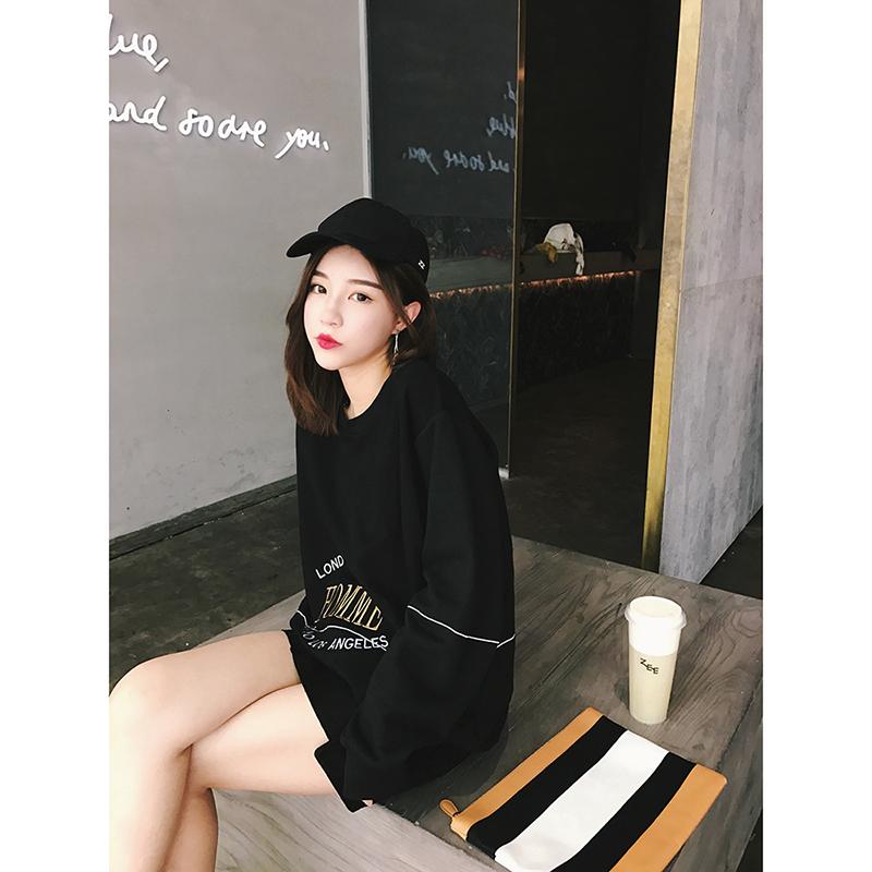 秋季新款韩版港味chic字母刺绣慵懒卫衣女中长款学生宽松套头外套