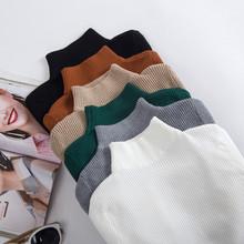 薄款 毛衣 针织衫 女士半高领修身 套头百搭长袖 弹力紧身打底衫 秋冬装