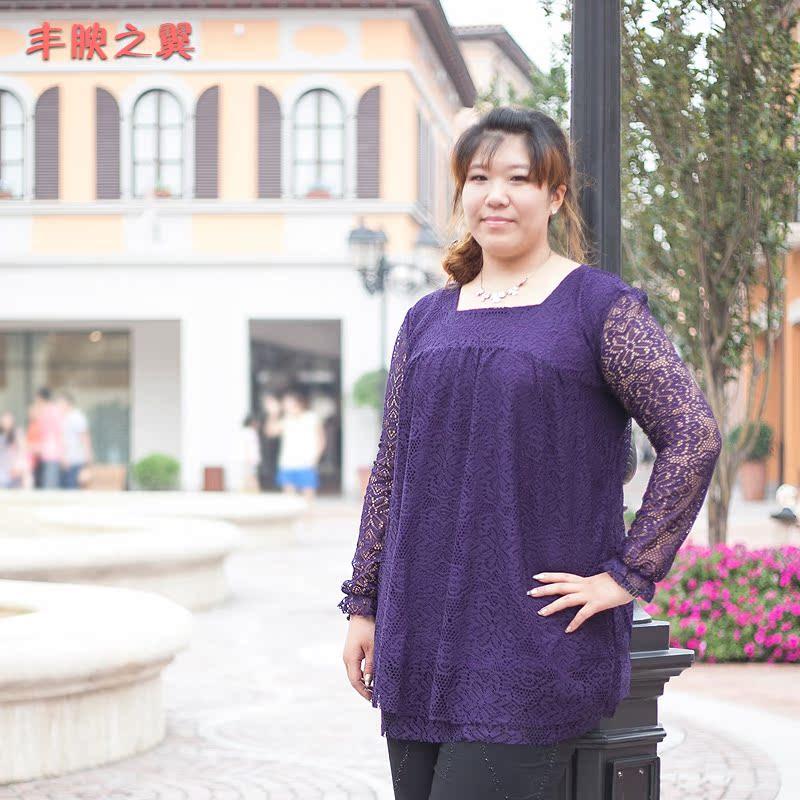 丰腴之翼2013春夏特大蕾丝长袖200斤新款加大码胖mm韩版修身上衣