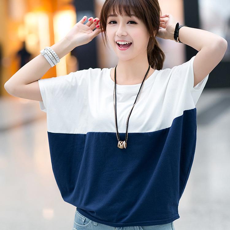 2017夏季新款大码女装韩版宽松短袖T恤蝙蝠衫胖mm学生体恤上衣 潮
