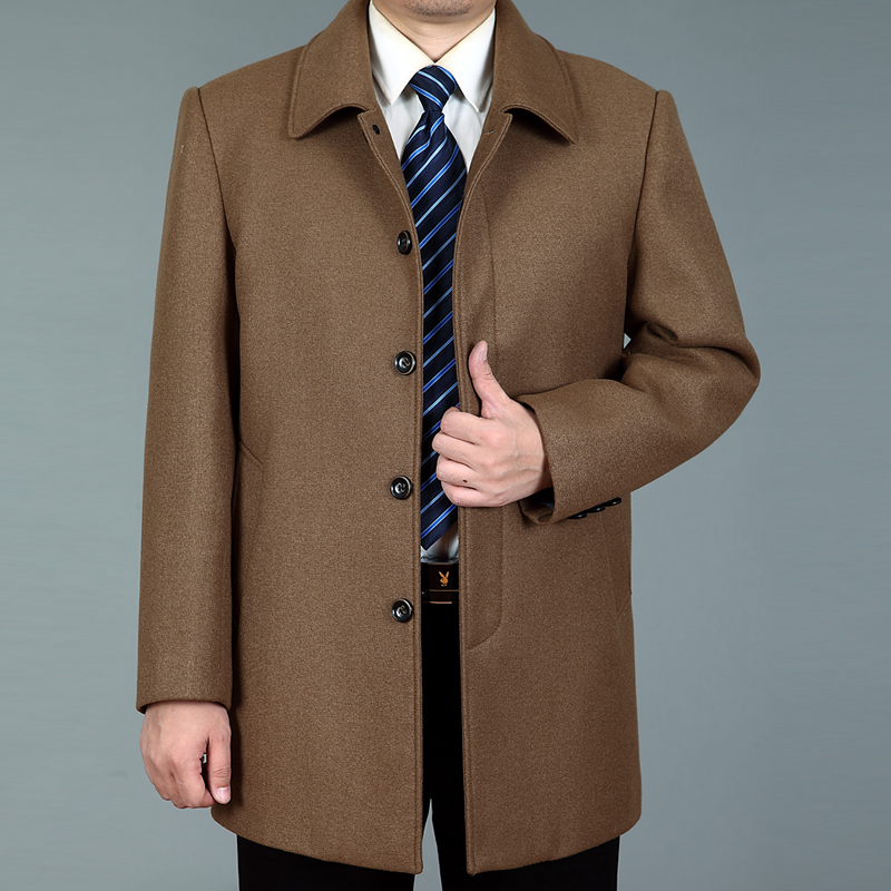中年商務休閑呢子外套男士毛呢大衣中長款秋春季風衣外套爸爸裝圖片
