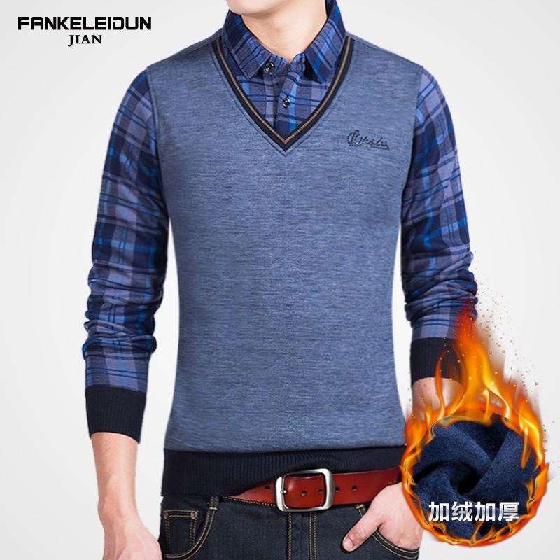 秋冬季假两件套加绒加厚毛衣男士针织衫2017新款衬衫领长袖衬衣服