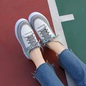 韩版原宿ulzzang马克线休闲运动鞋女学生系带百搭厚底板鞋松糕鞋
