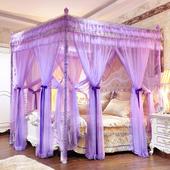 双层蚊帐欧式家用公主风床幔宫廷三开门支架1.5米落地不锈钢1.8m