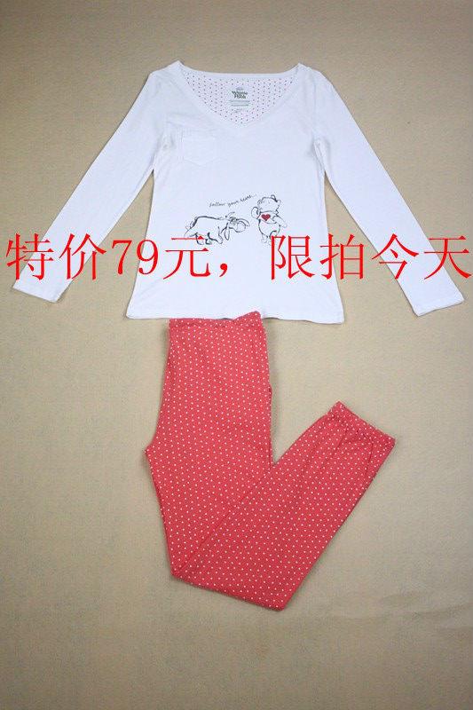 women'secret 特价 V领白色长袖上衣红色桃心长裤 家居服套装