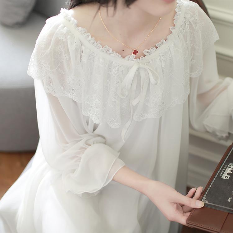 女春夏蕾丝白色家居服长袖宫廷公主莫代尔网纱睡裙性感睡衣甜美