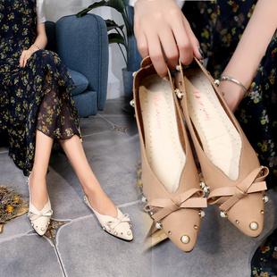 单鞋女17新品夏季韩版珍珠尖头平底鞋浅口平跟工作鞋蝴蝶结豆豆鞋