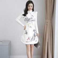 2017冬季加绒加厚兔毛保暖麂皮绒长袖短款修身少女改良旗袍连衣裙