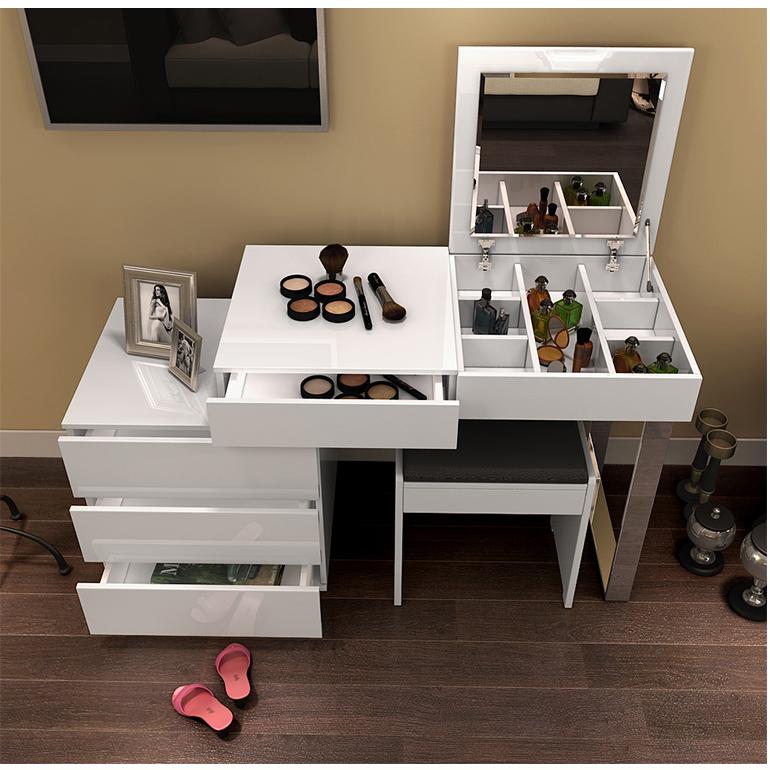 淘宝-现代简约白色烤漆小户型卧室梳妆台可伸缩田园