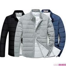 外套保暖寸衣帅气小伙 青年长袖 冬装 衬衣修身 男羽绒棉衬衫 新款