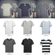 日系学生青年潮流班服 修身 条纹短袖 海魂衫 T恤男圆领韩版 夏季新款
