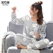 家居服 冬天法兰绒加厚套装 韩版 珊瑚绒睡衣女士秋冬季甜美可爱长袖