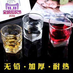 无铅玻璃威士忌啤酒水杯子四方杯酒吧KTV洋酒杯家用茶杯加厚耐热