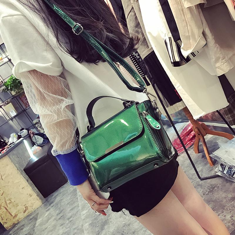 女潮韩版亮面百搭多用手提包包包小包漆皮包单肩斜跨女包