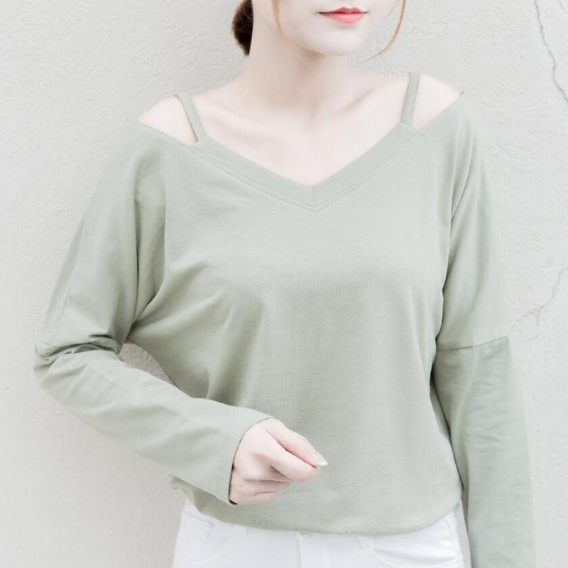 大码潮简约女装打底学生春秋长袖上衣衫显瘦镂空