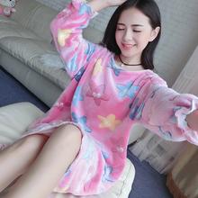 保暖加厚加长韩版 甜美公主卡通睡衣 睡裙冬女可爱珊瑚绒法兰绒长款