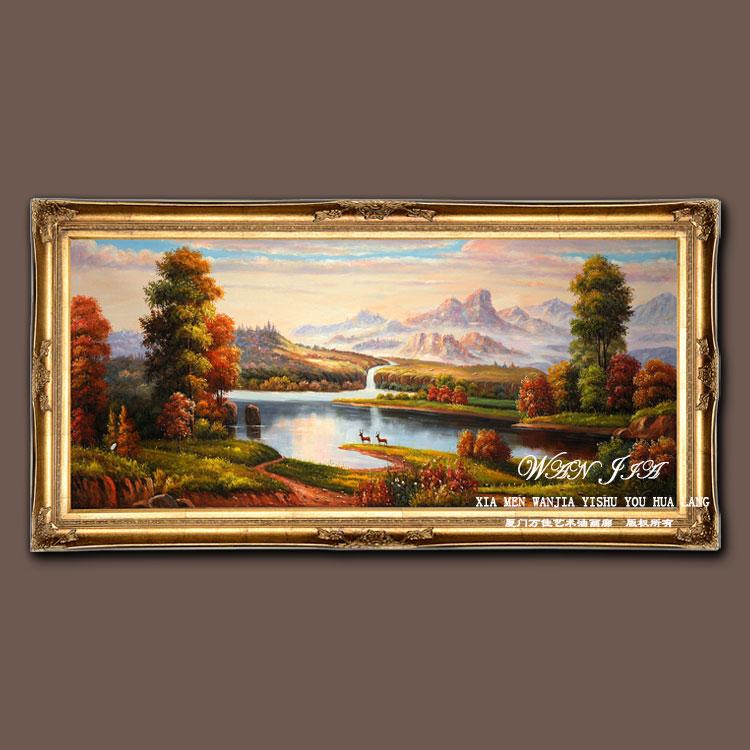 手绘山水风景油画 欧式客厅沙发背景装饰画