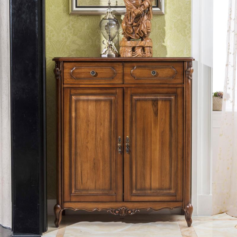 小美式家具 简美全实木鞋柜