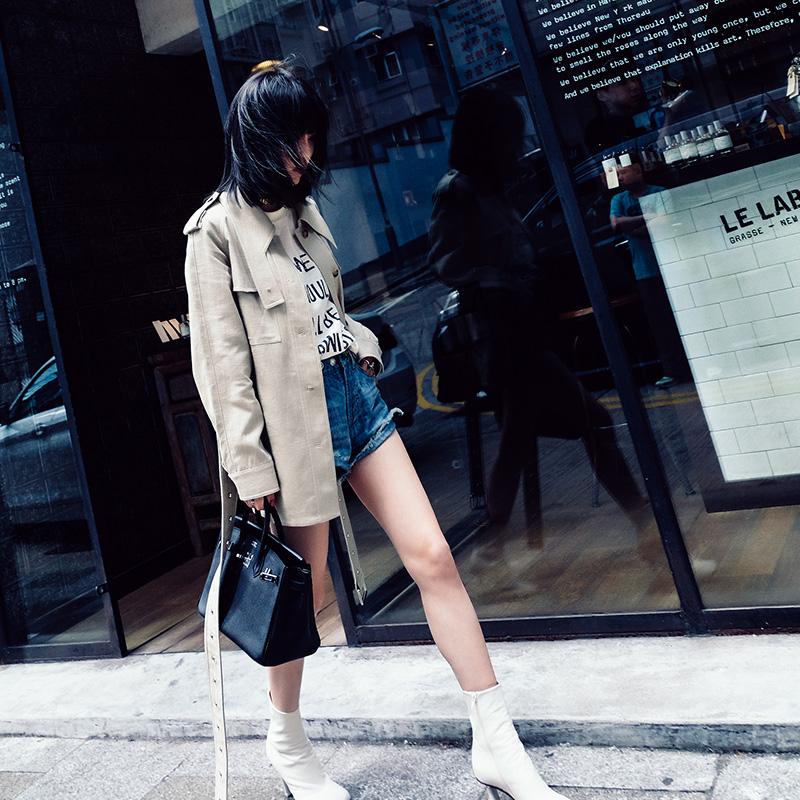宽松风衣英伦春季款显瘦正常外套单排米色翻领