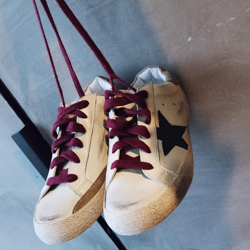 做舊小臟鞋春夏帆布鞋女鞋學生系帶小白鞋星星
