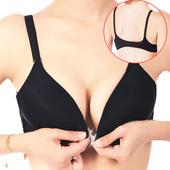 日系黑色性感前扣无钢圈上托小胸聚拢内衣上薄下厚无痕舒适文胸罩