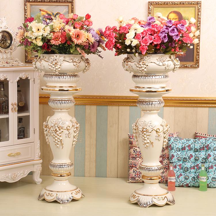 欧式陶瓷罗马柱子摆件客厅高档落地花瓶插花大花瓶