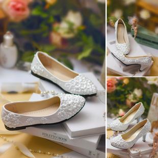 白色中跟伴娘手工浅口孕妇婚鞋高跟单鞋中式婚纱拍照新娘结婚鞋