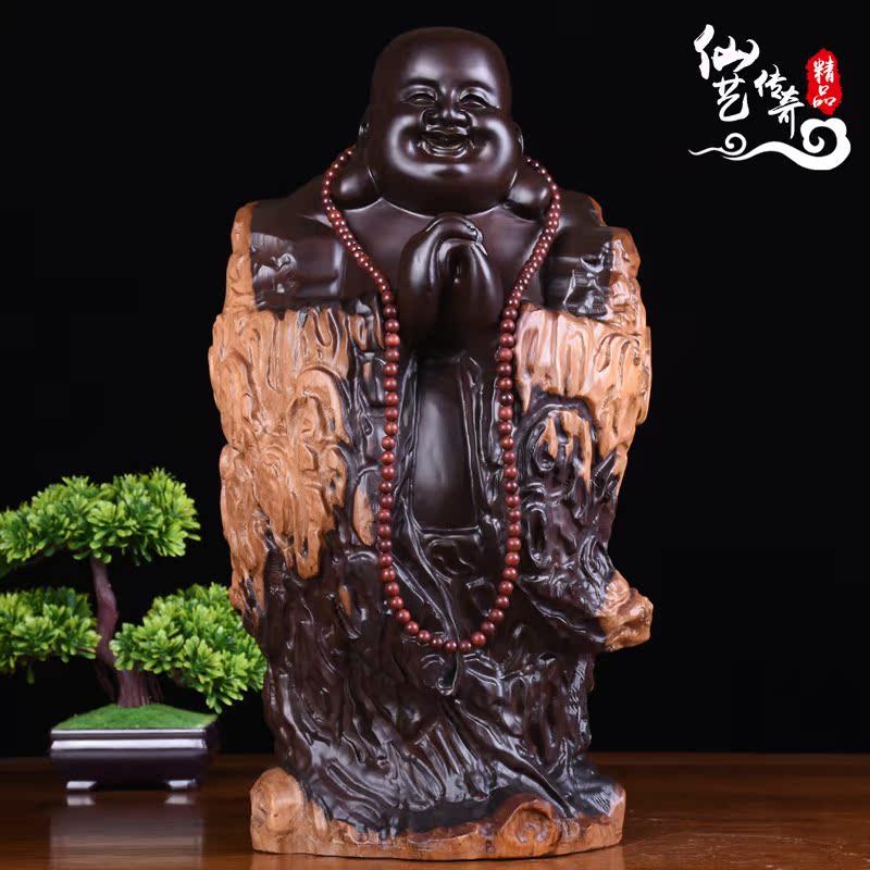 佛像摆件元宝迎福坐佛实木雕刻家居招财红木工艺品