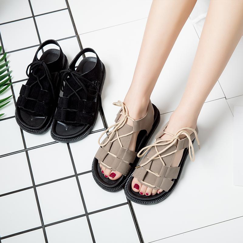 平底罗马凉鞋女学生夏韩版原宿风松糕百搭厚底