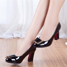 真皮粗跟高跟女单鞋 漆皮高跟舒适女鞋 闺姿意尔康2017春秋新款 正品