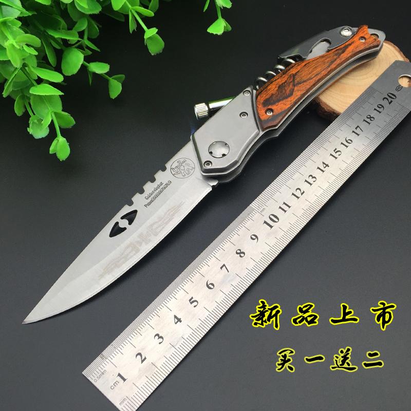 户外刀ak47带灯弹簧钢多功能折叠刀高硬度锋利军刀防身刀具非直刀